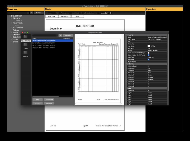 Template Manager - PD/Dimmer Sheet